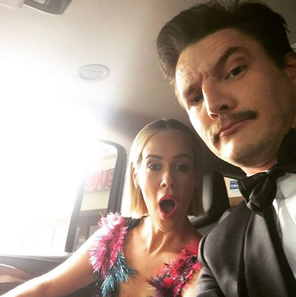 Sarah Paulson and Pedro Pascal showed off their pre-awards show faces. 