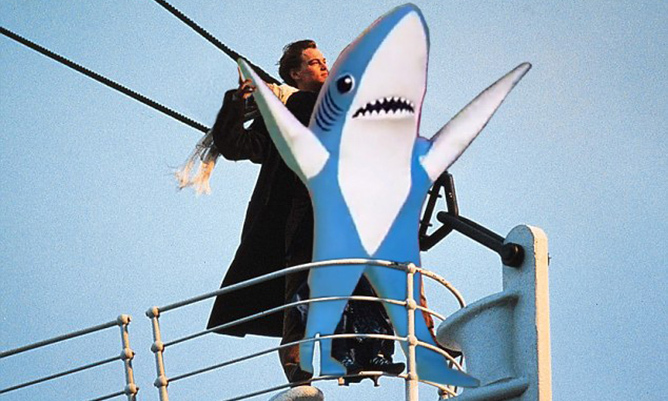 "Katy Perry's Left Shark backup dancer found his way into the iconic ""King of the World"" scene from <i>Titanic</i>. The befuddled sidekick captured the world's attention during the 2015 halftime show. 