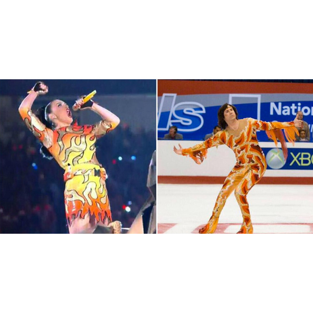 "The Internet was quick to note the similarities between Katy's ""Firework"" dress and the flame costume worn by Will Ferrell in <i>Blades of Glory</i>. Other comparisons including Flamin' Hot Cheetos, Bam Bam Bigelow and Guy Fieri."