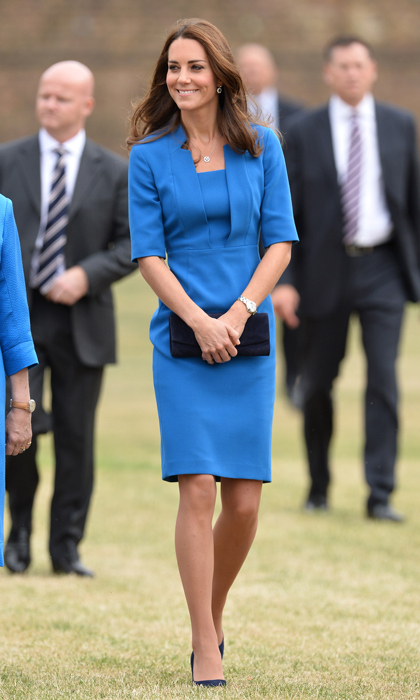 Kate always makes a splash when she wears blue, one of her most complementary colours. This clean and simple dress keeps the bold hue demure.