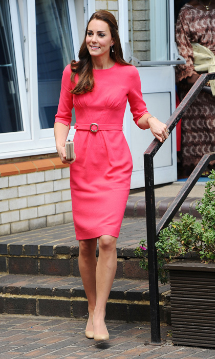For a pop of colour, Kate might want to whip out her fuchsia Goat dress, with front pleats, and a pair of her favourite nude pumps.   