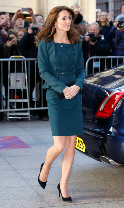 "Kate knows that to stand out she needs to mix up the silhouette. Sometimes she pairs a peplum-accented V-neck wool jacket with L.K. Bennett's simple and structured Davina dress for a ""take charge"" look. 