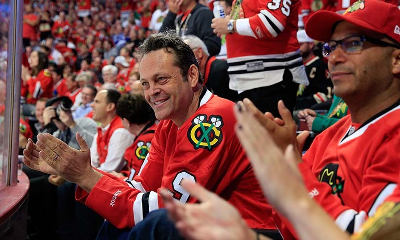 Vince Vaughn took in the fourth game of the 2015 NHL Stanley Cup Final between the Chicago Blackhawks, his team of choice, and the Tampa Bay Lightning on June 10, 2015 in Chicago. (Photo: Getty Images)