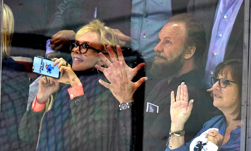 Trudie Styler had her phone at the ready to record the action beside her husband Sting as the Washington Capitals battled hometown team the New York Rangers on May 13, 2015. (Photo: Getty Images)