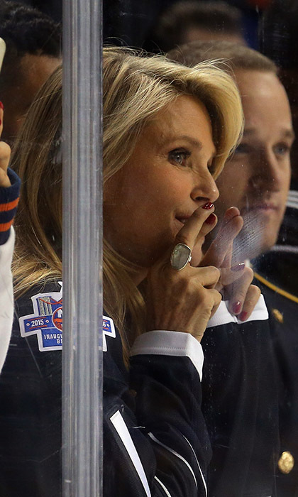 Fingers crossed and face fogging up the ice, Christie Brinkley couldn't contain her nerves as the New York Islanders and the Chicago Blackhawks faced off at the Barclays Centre in Brooklyn, New York. (Photo: Getty Images)