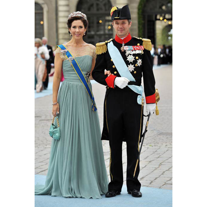 A floor-sweeping gown for the wedding of Crown Princess Victoria of Sweden and Daniel Westling in 2010 in Stockholm.