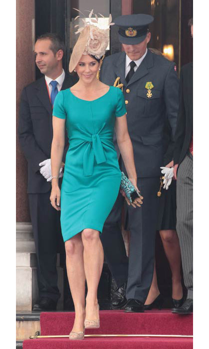 A simple-yet-elegant teal shift was the perfect choice for the Royal Wedding of Prince Albert II of Monaco to Charlene Wittstock in 2011.