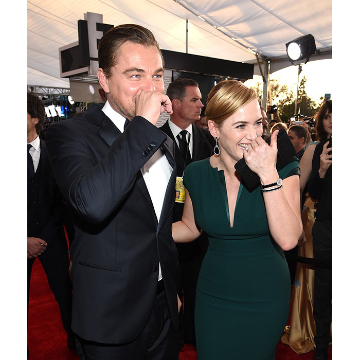 "Leo and Kate could not have been any cuter while laughing together on the red carpet at the 2016 Screen Actors Guild Awards. The actress admitted to <em>E!</em> that when it comes to nominations, she's more focused on her former co-star's than she is on her own. ""I've been so focused on Leo and him winning everything and being so excited for him,"" she said.