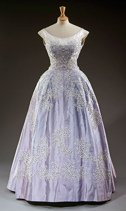 Sir Norman Hartnell, pale blue silk faille evening gown worn at the Royal Lyceum, Edinburgh, during the State Visit of King Olav of Norway in 1962.