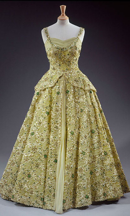 Sir Norman Hartnell, pale green crinoline evening gown made of silk chiffon and lace embroidered with sequins, pearls, beads and diamante.