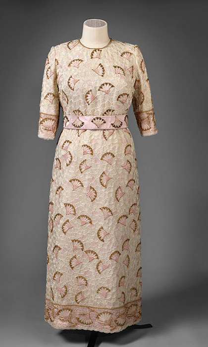 John Anderson, silk evening dress entirely embroidered with beads and sequins in white, pink, gold and cream with gold thread worn for the Commonwealth Heads of Government reception held at the Palace of Holyroodhouse in 1997.