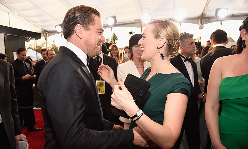 Nearly two decades after they bonded on the set of <em>Tiantic</em>, Leonardo DiCaprio and Kate Winslet still know how to crack each other up. The movie stars reunited at the SAG Awards, where Leo nabbed the Best Actor trophy for his role in <em>The Revenant</em>.