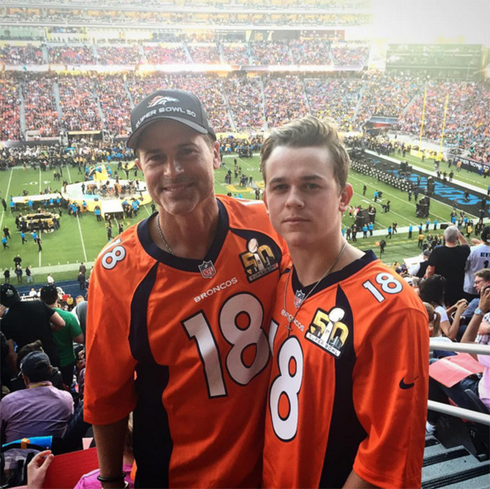 "Rob Lowe and his son supported the winning team, proudly sporting their Denver Broncos jerseys. ""Repping for The Sheriff. #superbowl,"" the actor wrote.