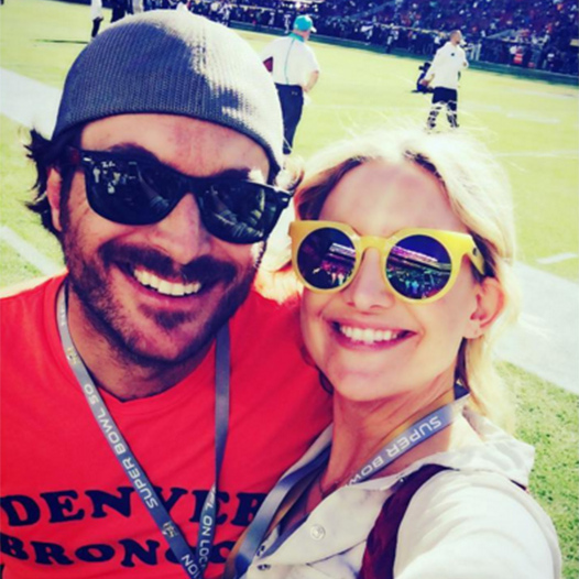 "Kate Hudson snapped a selfie from the pitch, writing: ""To be here with my bro is just as sweet as can be! #GoBroncos #SuperBowl50.""
