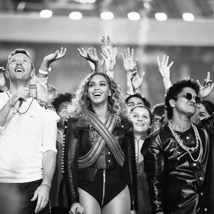 Music royalty Beyoncé shared dozens of images from the event, including one of herself and fellow half-time performers Chris Martin and Bruno Mars.