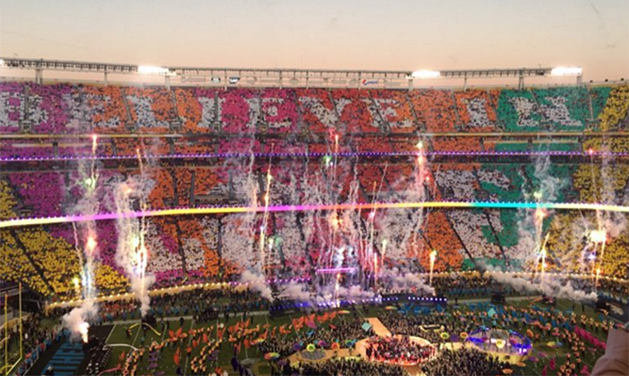 Watching from his prime stadium seat, Brooklyn Beckham snapped an awesome panoramic photo of the half-time show, which featured Beyoncé, Coldplay, Bruno Mars, Mark Ronson and Lady Gaga.