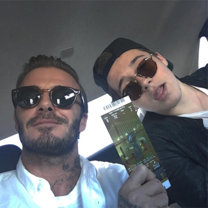 David Beckham poked fun at his eldest son Brooklyn, who was making his first visit to the most anticipated event in the US sporting calendar.