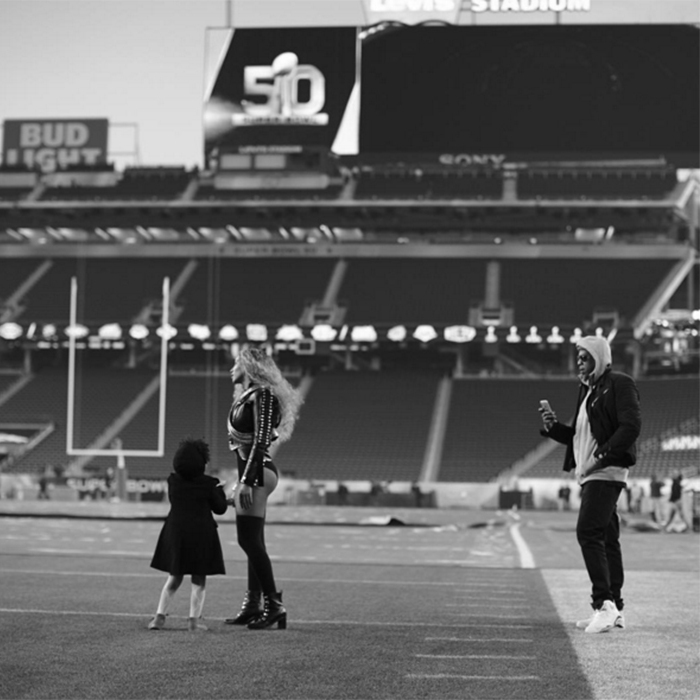 Sunday rehearsals were a family affair, as Beyoncé was joined by her daughter Blue Ivy and her husband Jay Z on the pitch that would later see the Denver Broncos beat favourites Carolina Panthers 24-10.