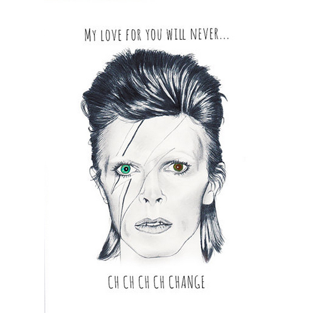 "David Bowie Ziggy Stardust greetings card, $8, <a target=""_blank"" href=""https://www.etsy.com/ca/listing/264117009/david-bowie-ziggy-stardust-greetings?ref=shop_home_active_2"">Lolo Illustration on Etsy</a>."