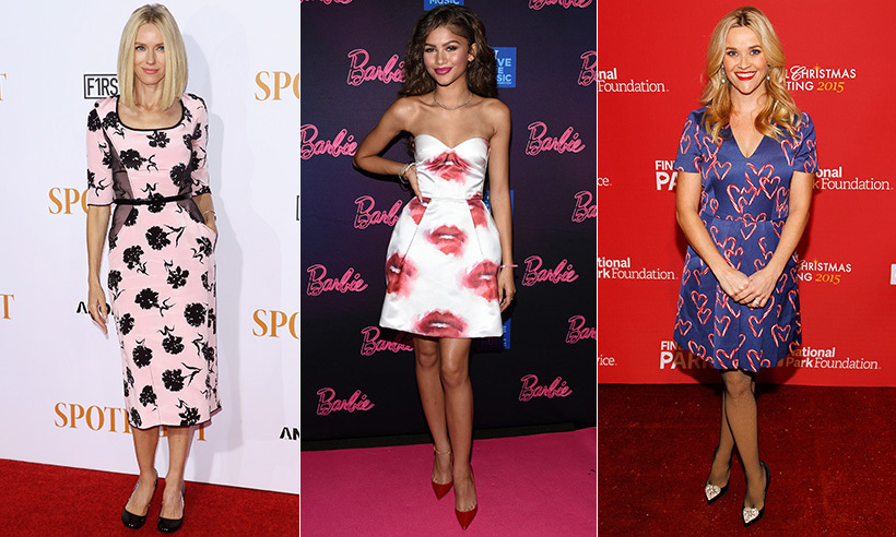 For the most romantic day of the year, don't be afraid to gush a little - at least where your wardrobe is concerned. Style stars like Naomi Watts, Zendaya Coleman and Reese Witherspoon aren't afraid to don a little romance, from Naomi's date night-worthy floral frock to Zendaya's playful, smooch-smattered MSGM party dress.