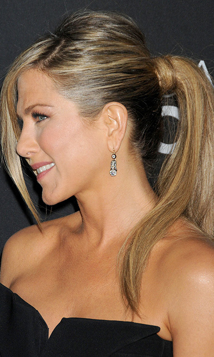 Showing off a sleek ponytail at the premiere of <em>Call Me Crazy</em>