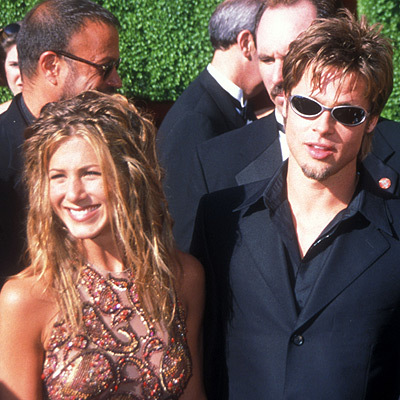 On the red carpet with Brad Pitt at the 51st Emmy Awards in 1999