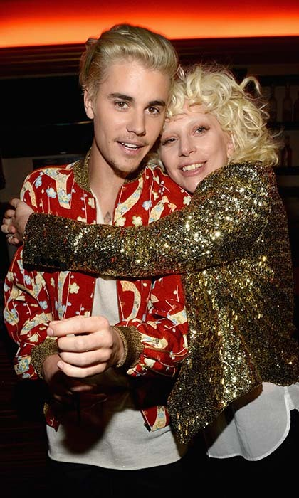 Lady Gaga and Justin Bieber hugged it out at the Saint Laurent special presentation at L.A.'s Hollywood Palladium. 