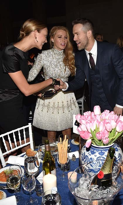 Blake Lively introduced her husband Ryan Reynolds to supermodel Karlie Kloss at the amfAR Gala in New York. 