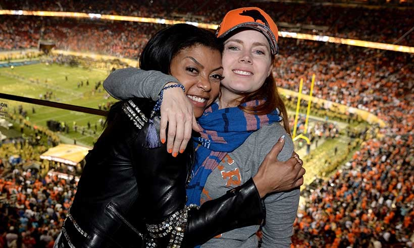 Football fans Taraji P. Henson and Amy Adams watched Super Bowl 50 together in Santa Clara, California. 