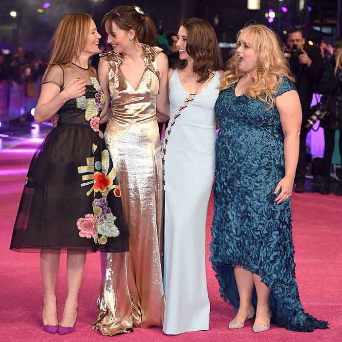 The ladies of <i>How to be Single</i> (From left: Leslie Mann, Dakota Johnson, Alison Brie and Rebel Wilson) were all giggles on the pink carpet at the film's premiere in London. 