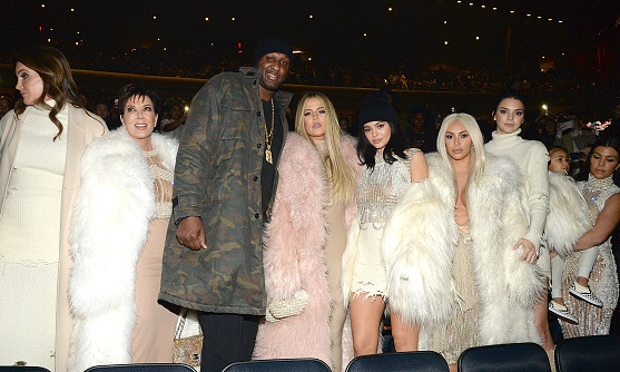 The Kardashian-Jenner clan in custom Yeezy x Balmain during Kanye West's Yeezy season 3 show at Madison Square Garden.