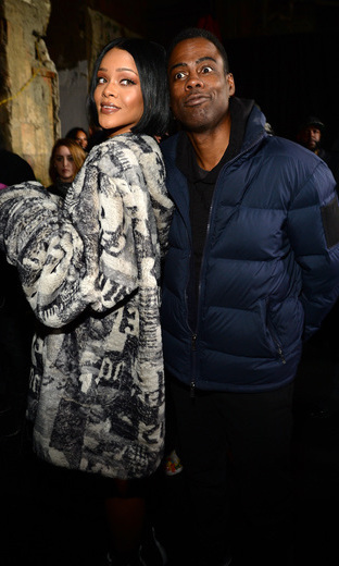 Comedian and Oscars' host Chris Rock joined the singer-designer backstage at her show. 