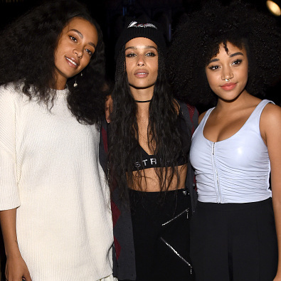 From left:  Solange Knowles, Zoë Kravitz and Amandla Stenberg at Alexander Wang.