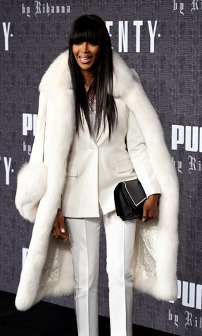 A fur-clad Naomi Campbell attended Rihanna's show. 