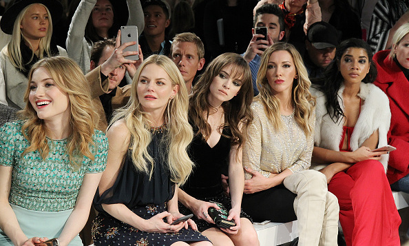 The front row at Jenny Packham: Skylar Samuels, Jennifer Morrison, Danielle Panabaker, Katie Cassidy and Hannah Bronfman. 