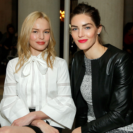 Kate Bosworth and model Hilary Rhoda at Carolina Herrera.