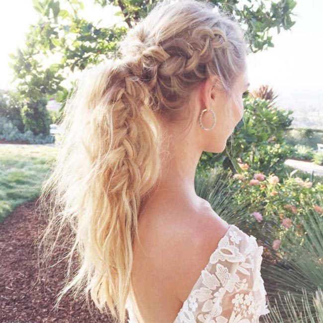 "<a href=""https://www.instagram.com/kristin_ess/"" target=""_blank"">@kristin_ess</a> - the woman behind <a href=""/tags//lauren-conrad/"">Lauren Conrad</a>'s glamorous hairstyles - created this gorgeous plaited ponytail, making for ultimate summer hair inspiration.