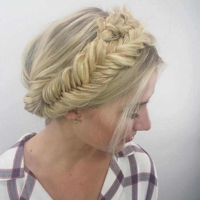 "Heading on a night out? Add a touch of edge to a milkmaid braid by using a fishtail plaited style like <a href=""https://www.instagram.com/sarahpotempa/"" target=""_blank"">@sarahpotempa</a>.