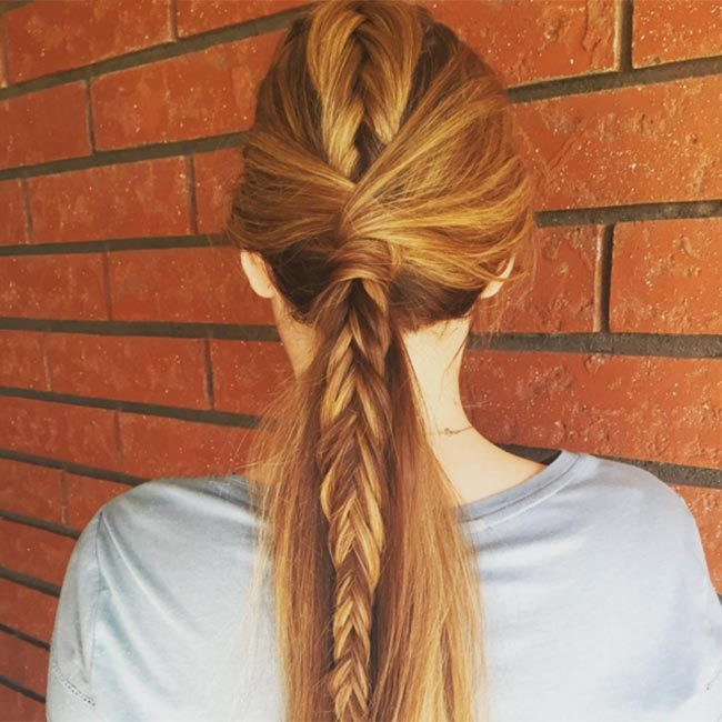 "Bring a touch of glamour to any ponytail by adding a fishtail plait down the middle like <a href=""https://www.instagram.com/ameliabhair/"" target=""_blank"">@ameliabhair</a>.
