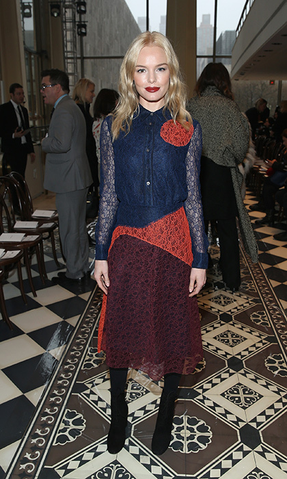 Kate Bosworth was ladylike yet chic in this lace-embellished Tory Burch ensemble for the designer's Fall 2016 runway show in New York. 