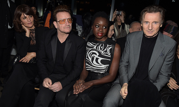 From left to right, Helena Christensen, Bono, Danai Gurira and Liam Neeson at Edun