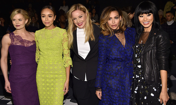 From left to right, Jennifer Morrison, Ashley Madekwe, Abbie Cornish, Naya Rivera and Jamie Chung at the Monique Lhuillier show