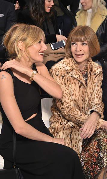 Sienna Miller chatted with Anna Wintour front row at Ralph Lauren.