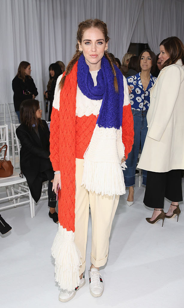 Blogger and designer Chiara Ferragni kept warm in the front row with her over-sized scarf at the Delpozo fashion show.