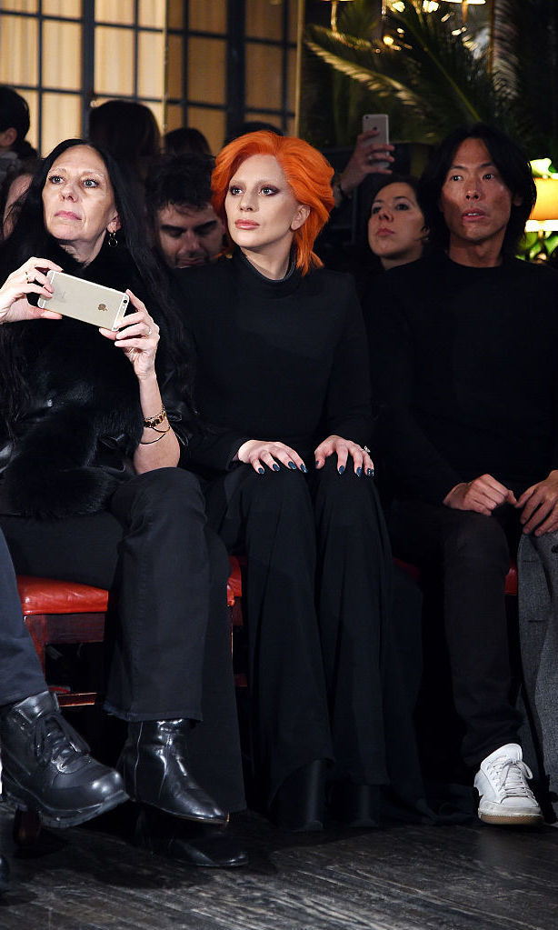 Fresh from her David Bowie tribute at the GRAMMYs, Lady Gaga sat front row at stylist and friend Brandon Maxwell's sophomore show held at the Monkey Bar.