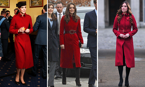 <p>The third time wasn't the only charm! The Duchess of Cambridge first wore this striking LK Bennett red coat to visit the UNICEF center in Denmark in 2011, center, cinched with a leather belt. The coat's next appearance was two years later, when Kate accompanied her husband to celebrate Remembrance Day, right, with her hair in glamorous waves. In February 2015, the classic piece got another showing during a visit to an Air Force base in Wales, a pillbox hat and black pumps giving it a military feel.