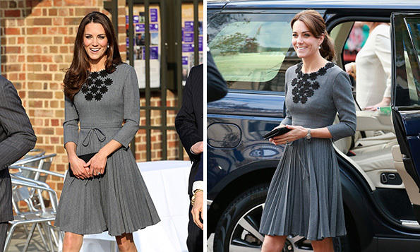 <p>With her long brunette locks hanging loose, Kate first wore this timeless Orla Kiely dress in 2012. She later brought it back in October 2015, sweeping her hair up into a loose ponytail.