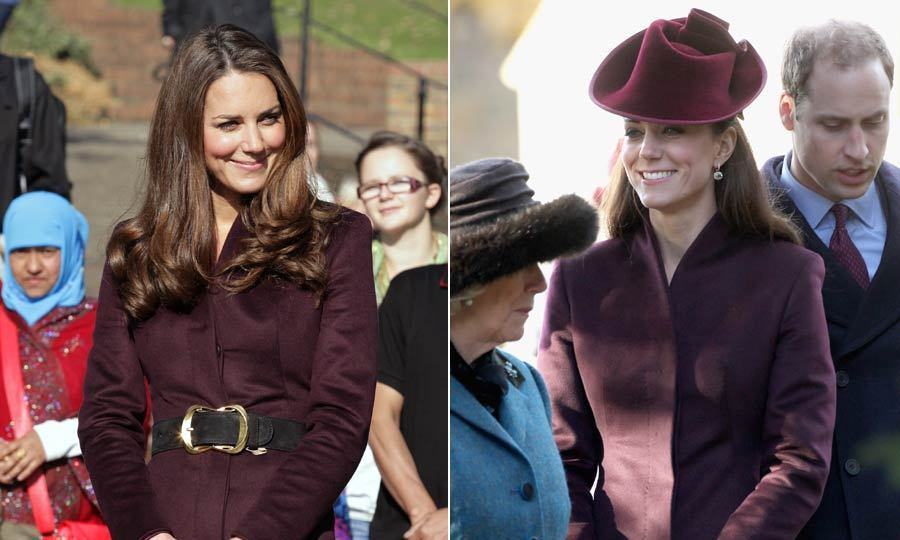 Kate made this maroon coat much less conservative by adding a wide belt – and taking away the hat and gloves – during her visit to a children's school.
