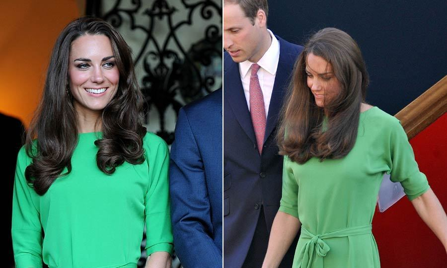 With this green dress proving a hit when she wore it to Zara Phillips' pre-wedding drinks party on July 8, 2011, Kate then decided to take it with her on her visit to Canada later on that month.