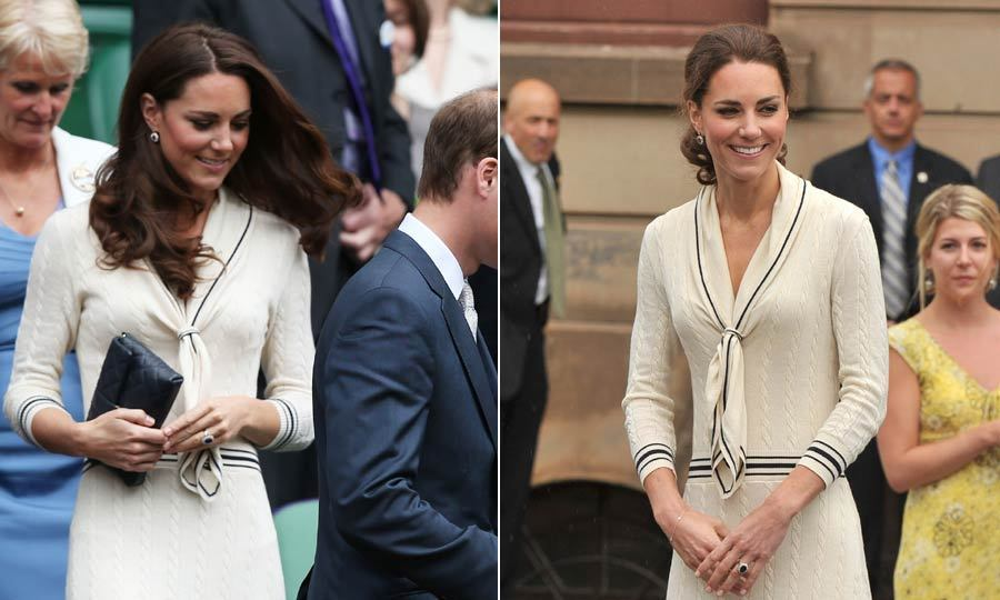 Kate wore this cream sailor dress made by one of her favorite designers, Sarah Burton for Alexandra McQueen, to watch Andy Murray at Wimbledon a year after she wore it on her royal tour of Canada and North America.